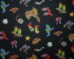 Multi Color Boots, Saddles, Hats, Scarves, Spurs and Stars on Bl