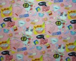 Fun Childrens Cooking Fabric in Yellow, Blue, Red, Black on Pink