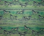Rows of Running Blue Horses on Mottled Teal/Green Background
