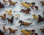 Multi Color Horses Running in Snow