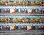 Multi Color Horses in Rows on Blues