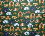 Cute Multi Breed Dog Faces on Hunter Green