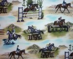 Eventing Horses on Light Blue
