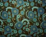 Dark Teal, Brown and Cream Flowers on Brown Background
