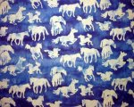 Batik White Horses on Mottled Light and Medium Blue Background