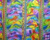 Laurel Burch Mythical Horses Bright Vertical Rows Green Orange P
