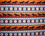 Rows of Black Horses on Orange with Southwestern Design Between