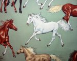Multi Color Horses on Sage Green