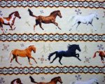 Southwestern Horses Multi Color on Cream Background