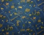 Western Range and Texas Longhorn on Dark Blue Background