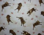 Brown Rodeo Bulls on Mottled Cream Background
