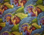 Laurel Burch Mythical Horses Lg Manes Purple Brown Blue Sage Bro