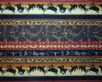 Black Bucking Bronks, Brown Running Horses, SW Designs w/green a