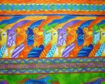 Laurel Burch Mythical Horses, Large Bright Green Blue Purple Ora