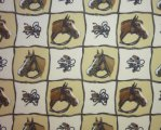 Brown Horses with Hat and Crop on tan and Cream Checkered Backgr