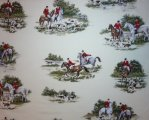 Large Fox Hunt with Horses and Hounds on Mottled Cream Backgroun