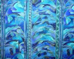 Laurel Burch Mythical Horses, Vivid Teal Blues with Golden Accen