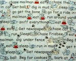 Fun Words on Mottled Blue Background with Red Bowls