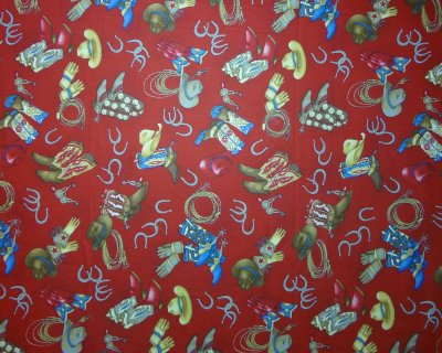 Western Gear on Mottled Cranberry Background - Click Image to Close