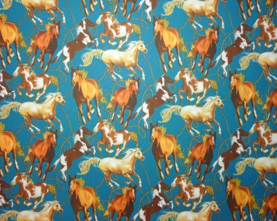 Brown, tan and Golden Horses with Rope on Teal Background - Click Image to Close
