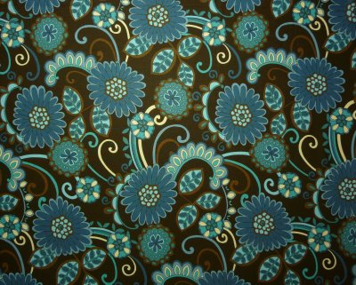 Dark Teal, Brown and Cream Flowers on Brown Background - Click Image to Close