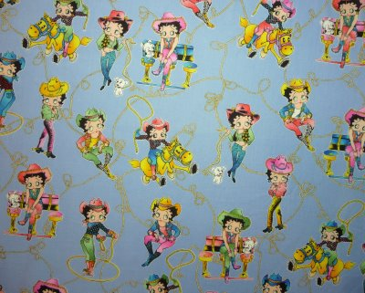 Cowgirl Betty Boop on Blue - Click Image to Close