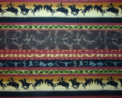 Black Bucking Bronks, Brown Running Horses, SW Designs w/green a - Click Image to Close